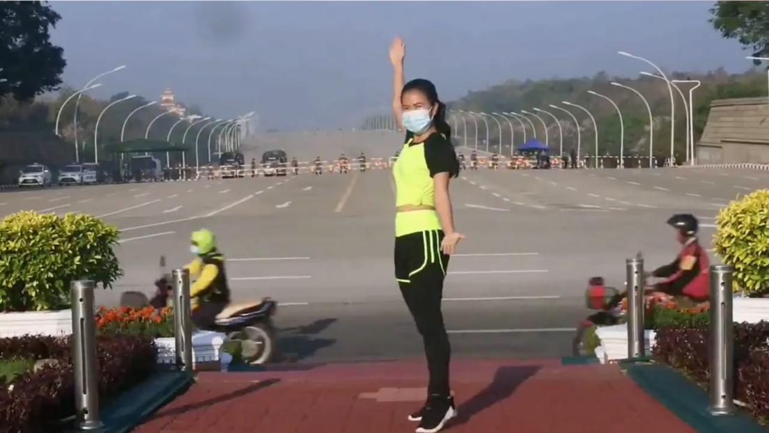 VIDEO: Instructora de aerobic capta sin saberlo el golpe de Estado en Myanmar mientras graba su baile