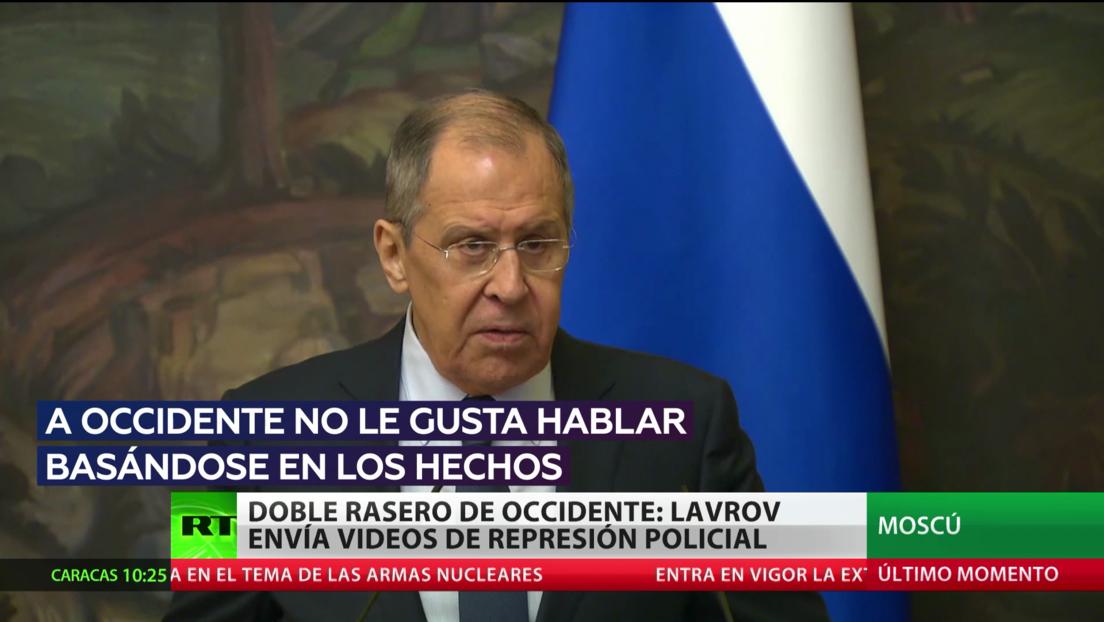 El doble rasero de Occidente: Lavrov envía a la UE vídeos de represión policial en sus países