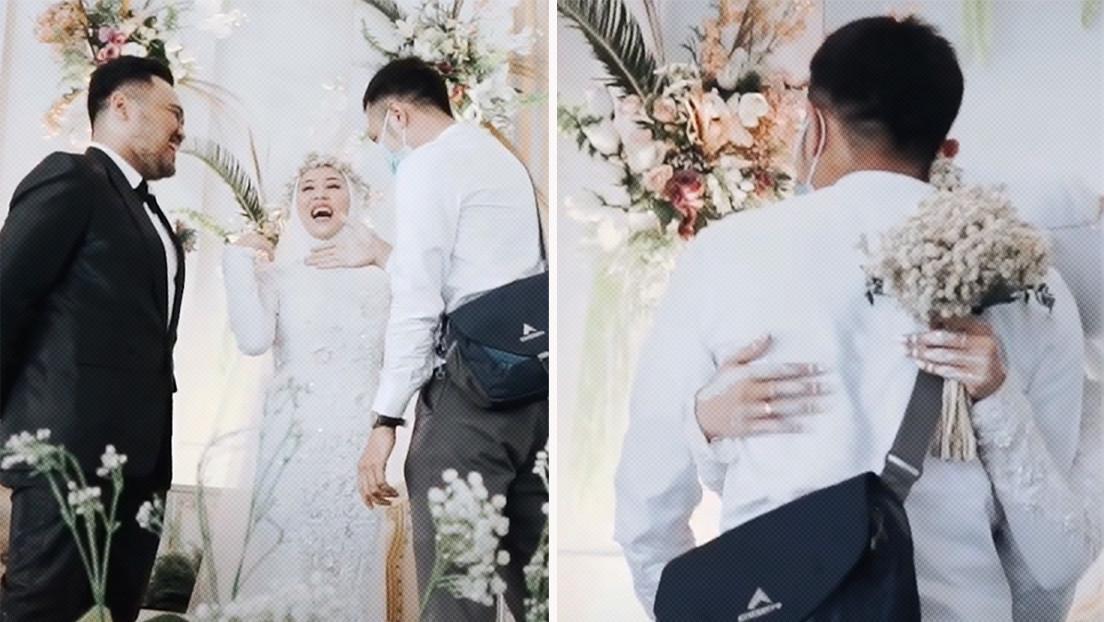"""""""Una última vez"""": Pide permiso a su esposo durante la boda para abrazar a su exnovio (VIDEO)"""