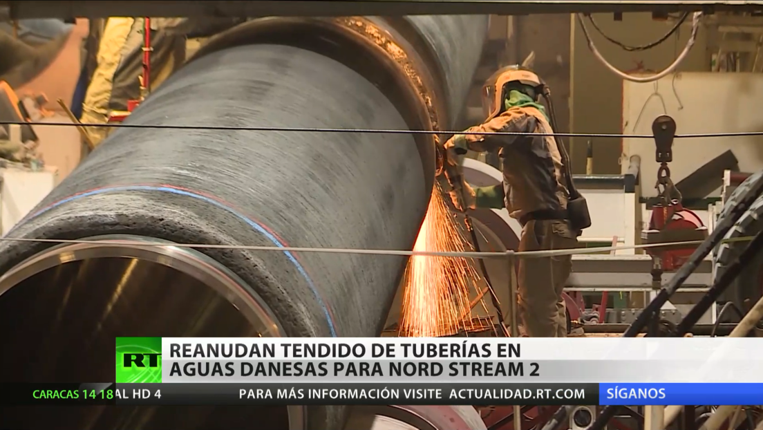 El barco ruso Fortuna reanuda en Dinamarca el tendido de tuberías del gasoducto Nord Stream 2