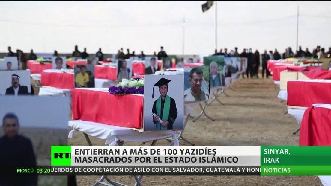Entierran los restos de más de 100 yazidíes que fallecieron en una masacre del Estado Islámico