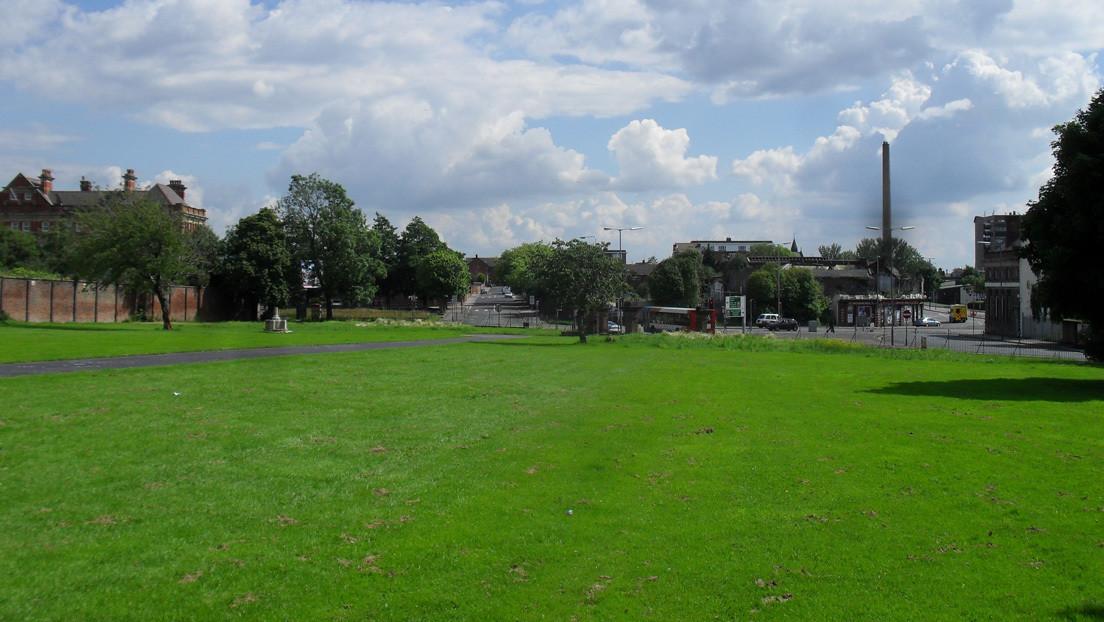 Pasea el perro por un parque y por poco cae a un antiguo cementerio con 80.000 tumbas