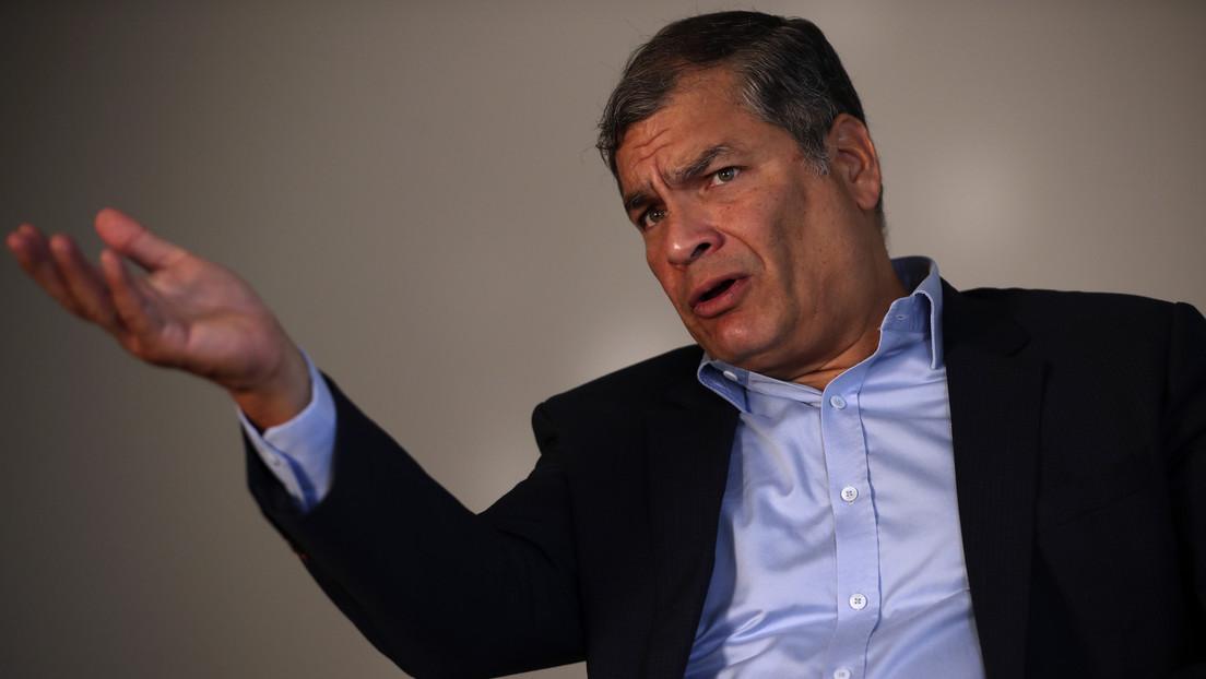 """""""El chiste se cuenta solo"""": Correa responde a las acusaciones del candidato Yaku Pérez, que lo señala de promover un """"fraude"""" en su contra"""