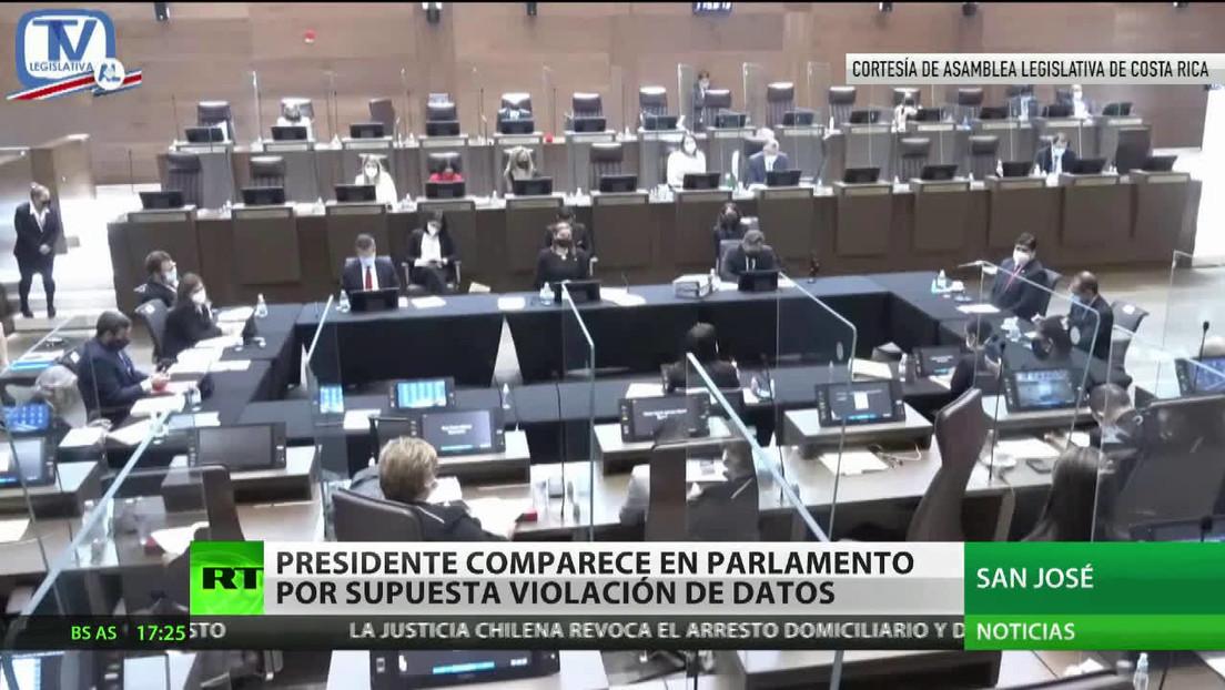 El presidente de Costa Rica comparece ante el Parlamento por supuesta violación de datos personales de los ciudadanos