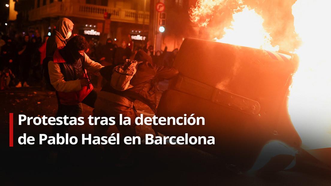 Cargas policiales y disturbios en el segundo día de protestas en España por la detención del rapero Pablo Hasél (VIDEOS)