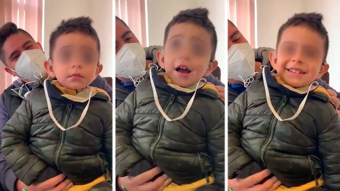 Resultado de imagen para Así reacciona un niño de dos años con discapacidad auditiva al escuchar por primera vez la voz de su padre (VIDEO)