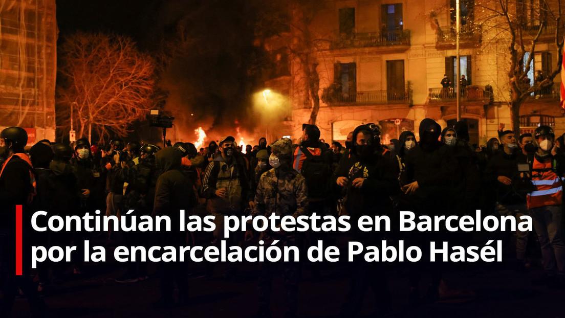 Cuarto día de protestas en Cataluña por el encarcelamiento del rapero Pablo Hasél (VIDEO)