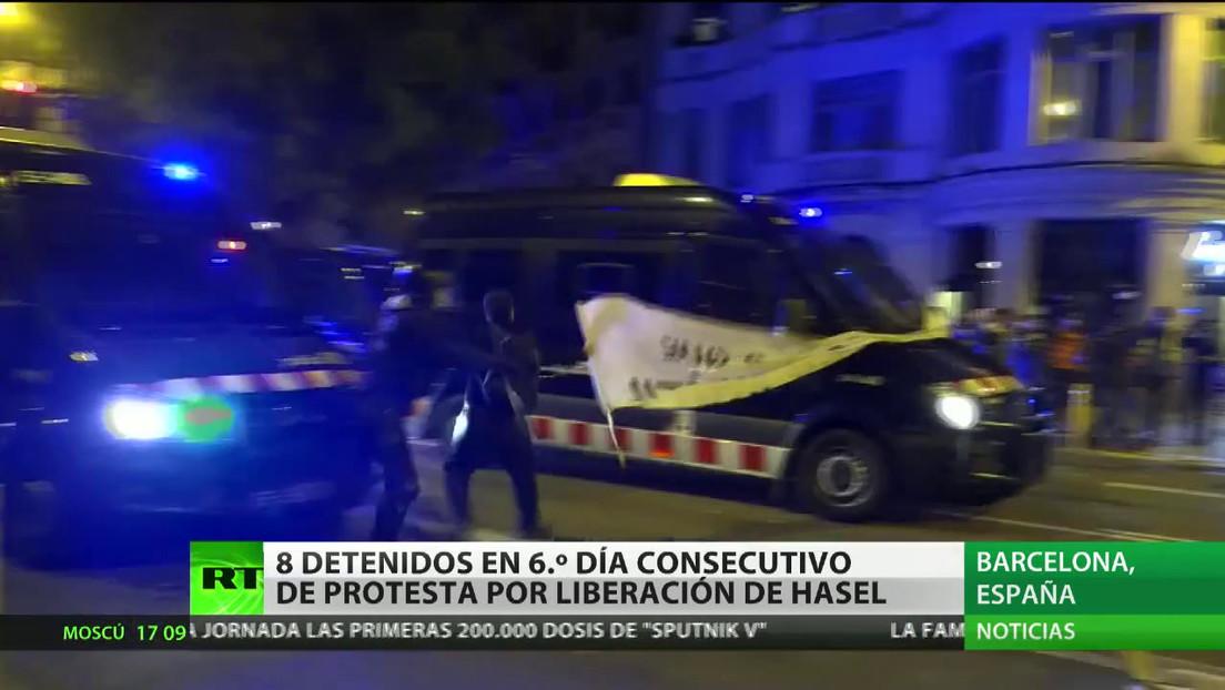 Detienen en Barcelona a ocho personas en el sexto día consecutivo de protestas por la encarcelación de Pablo Hasél