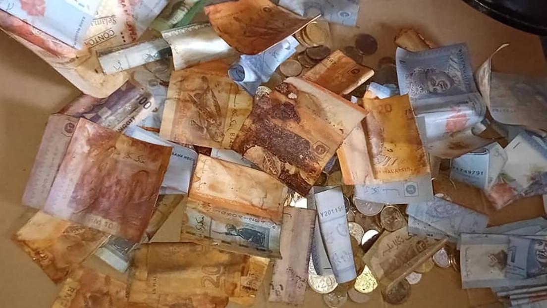FOTOS: Una mujer pierde sus ahorros tras guardar los billetes mezclados con monedas en una lata