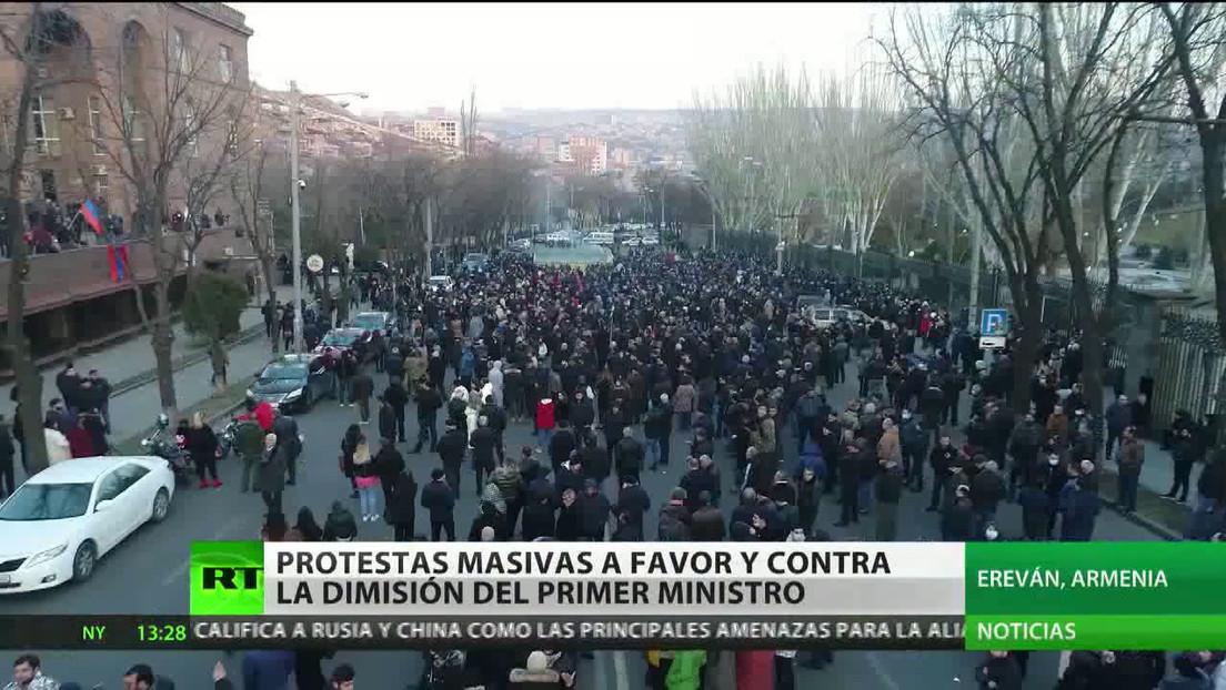 Protestas masivas en Armenia a favor y en contra de la dimisión del primer ministro