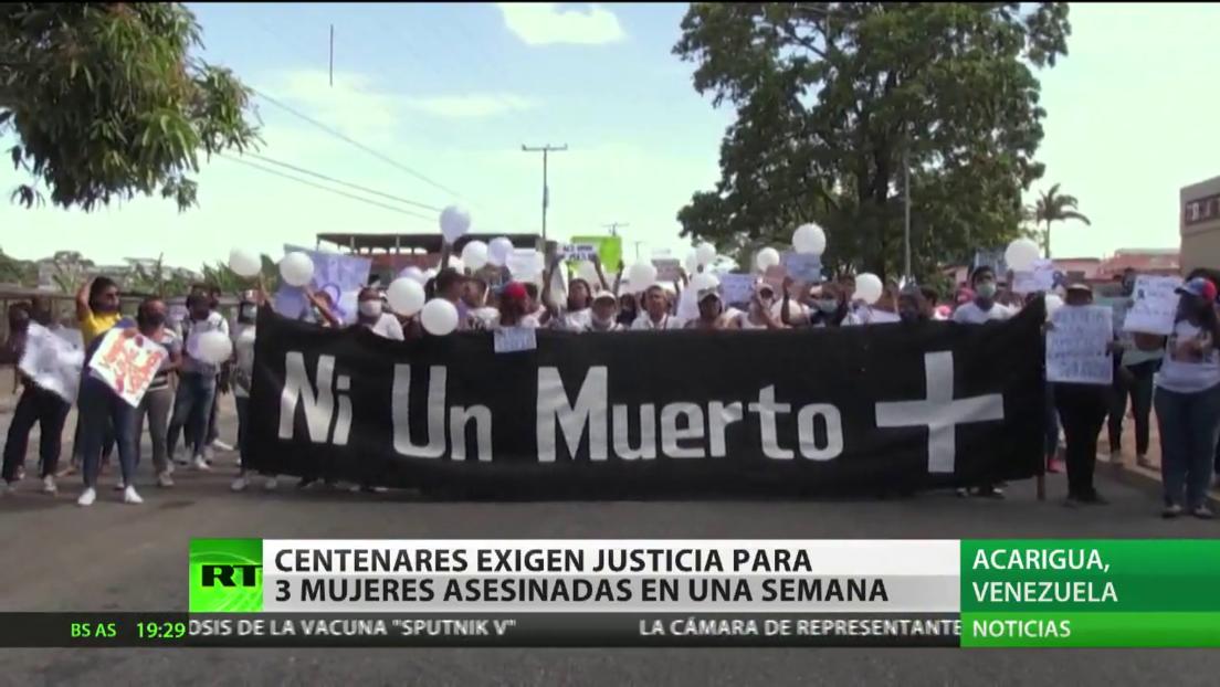 Centenares de personas exigen justicia para tres mujeres asesinadas en Venezuela en menos de una semana