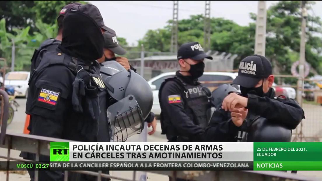 La Policía ecuatoriana incauta decenas de armas en cárceles tras los amotinamientos