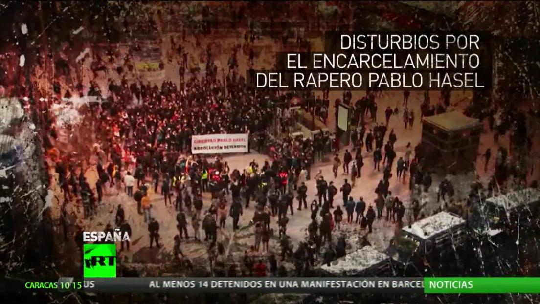 Continúan las protestas en Barcelona tras el encarcelamiento del rapero Pablo Hasél