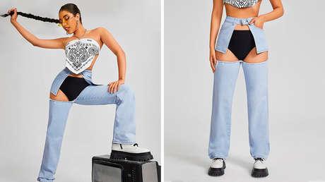 Usuarios de redes sociales se burlan de unos 'jeans' con un enorme agujero que deja a la vista la ropa interior