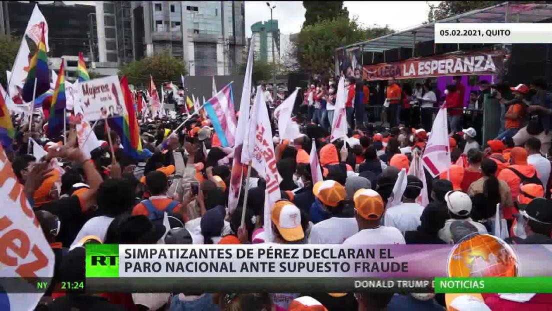 Simpatizantes de Yaku Pérez declaran el paro nacional ante el supuesto fraude electoral en Ecuador