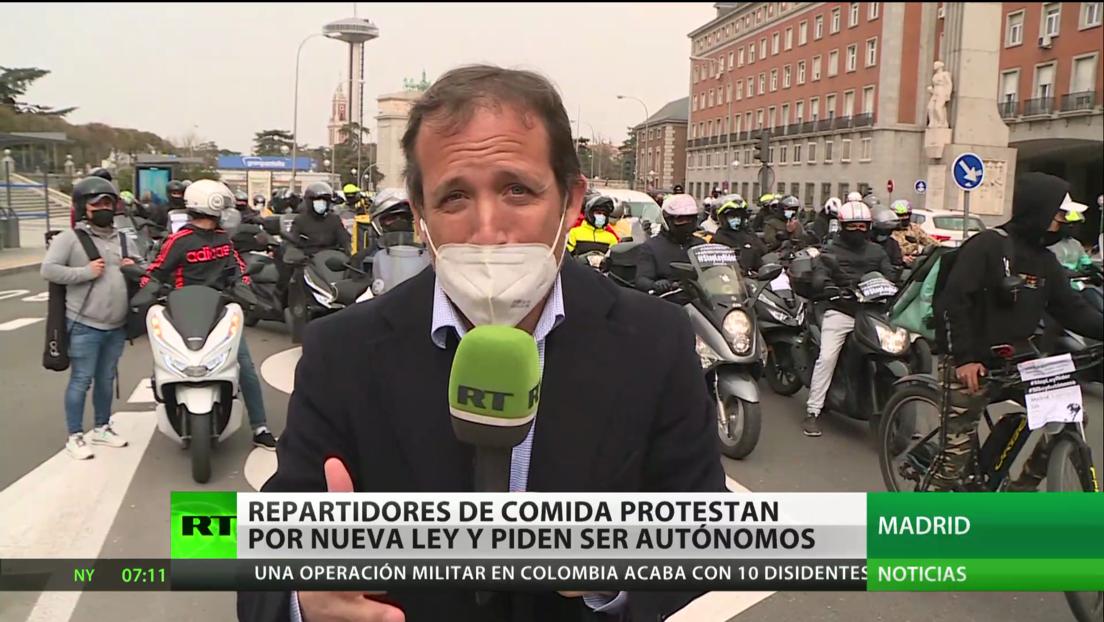 España: Repartidores de comida protestan contra nueva ley que los regularía y piden ser autónomos