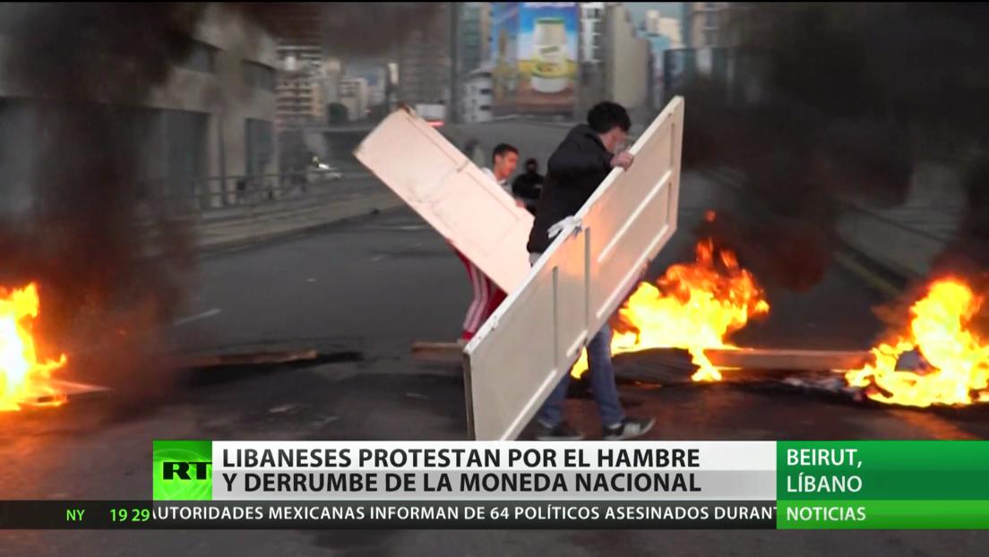 Libaneses protestan por el hambre y el desplome de la moneda nacional