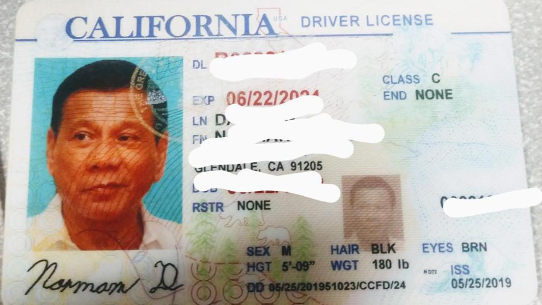 ¿Duterte en Los Ángeles? La policía de California detecta una licencia de conducir falsa con la foto del presidente de Filipinas