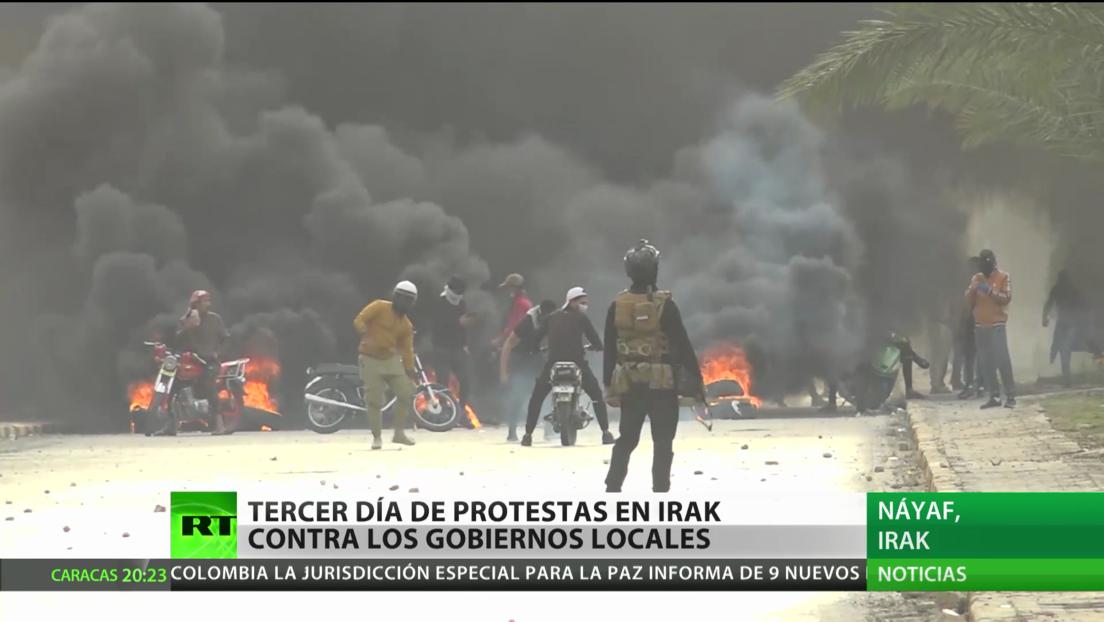 Tercer día consecutivo de protestas contra gobiernos locales en Irak