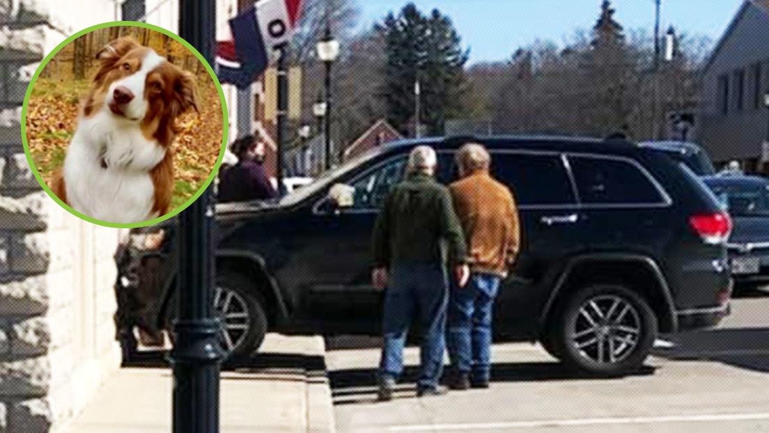 El Jeep dañado tras chocar contra una galería de arte en la ciudad de Sturgeon Bay, Wisconsin, EE.UU.