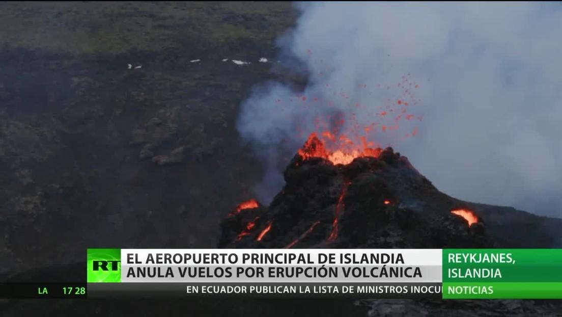 El principal aeropuerto de Islandia suspende los vuelos por la erupción de un volcán