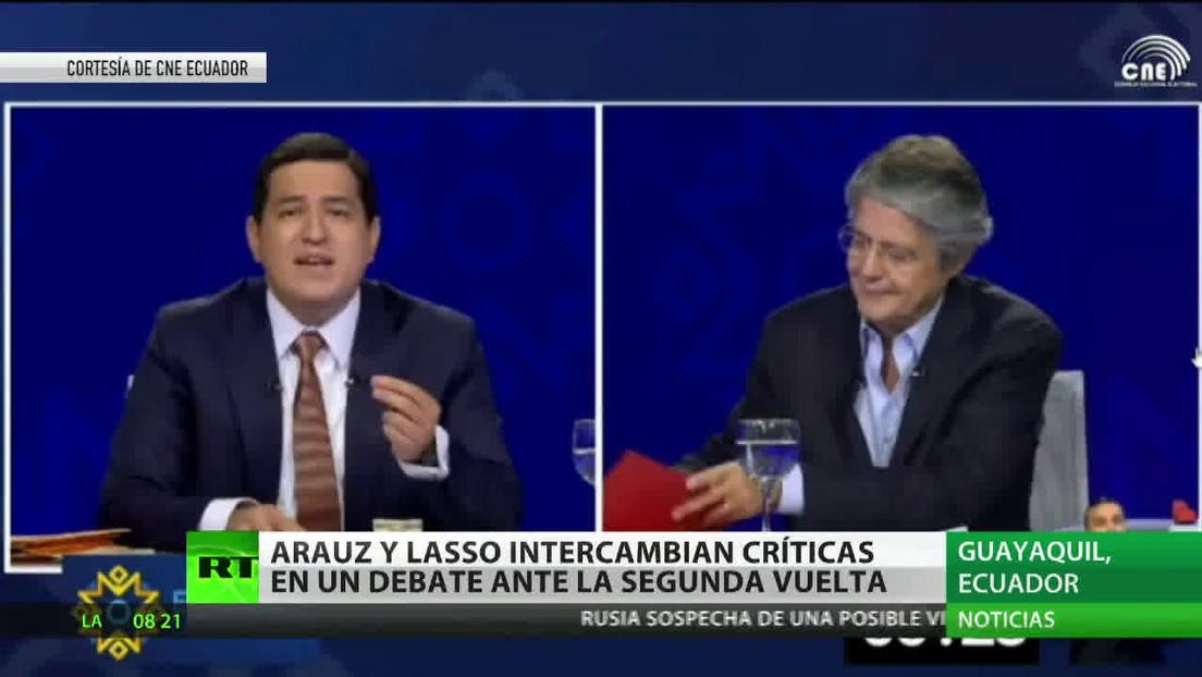Arauz y Lasso intercambian críticas en un debate ante la segunda vuelta