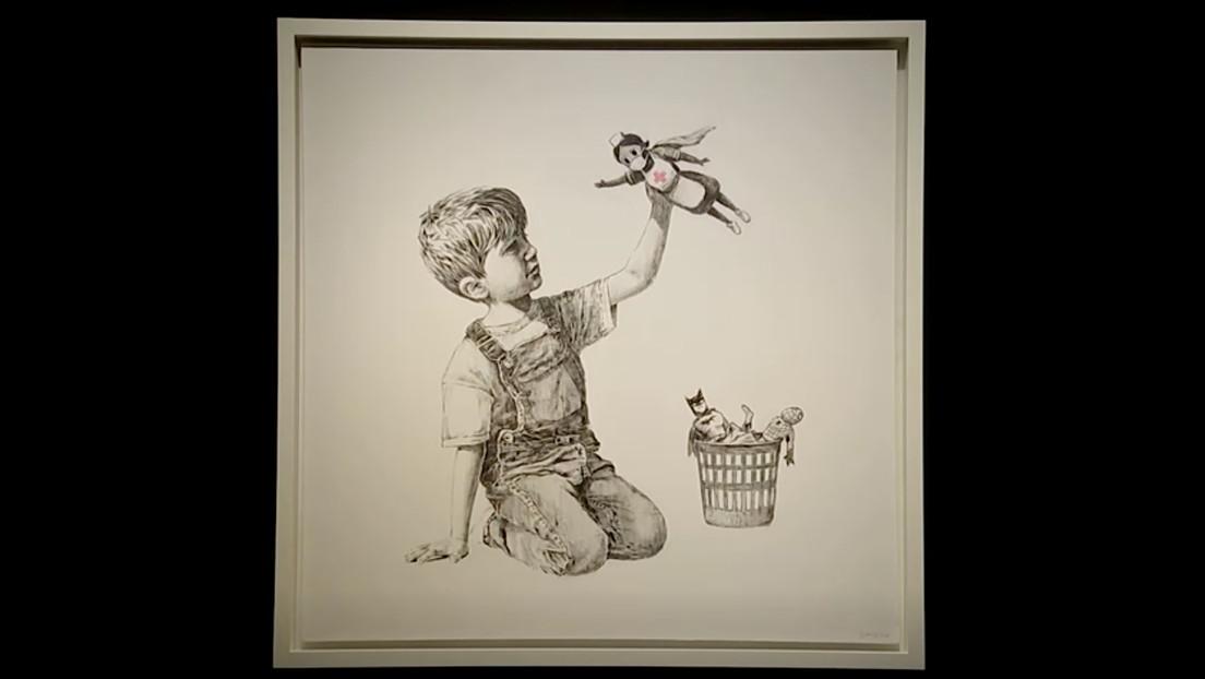 Banksy subasta su obra por un precio récord de más de 20 millones de dólares y cederá lo recaudado a los médicos