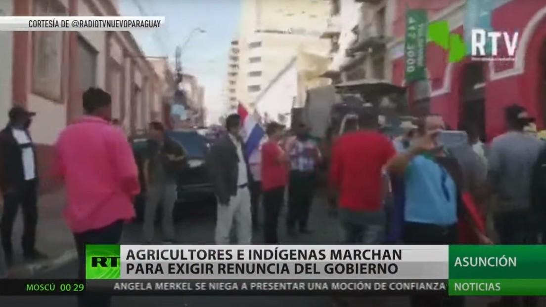Agricultores e indígenas marchan para exigir la renuncia del Gobierno en Paraguay