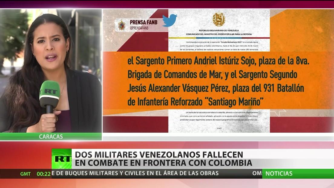 Dos militares venezolanos fallecen en combate en la frontera con Colombia
