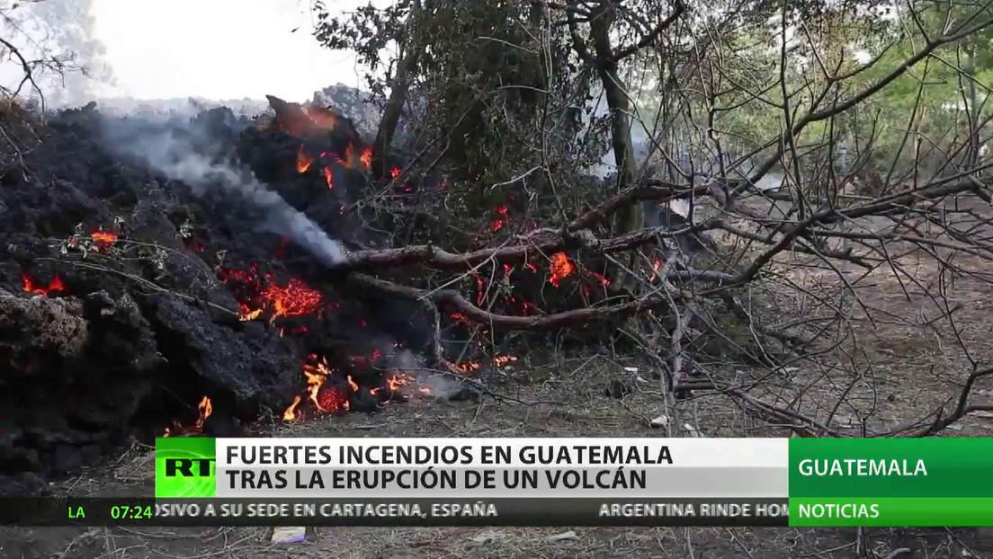 Fuertes incendios en Guatemala tras la erupción de un volcán