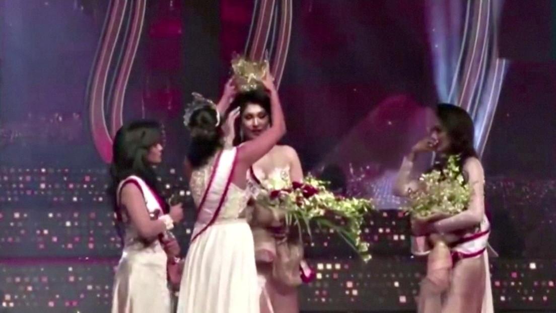 VIDEO: Gana el título de Mrs Sri Lanka y momentos después le arrebatan la corona acusándola de estar divorciada