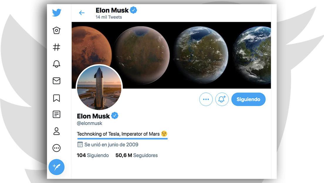 """Elon Musk añade un nuevo título a su biografía en Twitter, ahora es """"Emperador de Marte"""""""