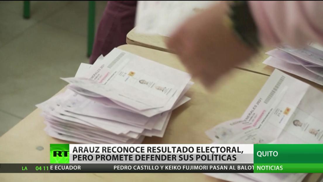 Ecuador: Arauz reconoce el resultado electoral, pero promete defender sus políticas
