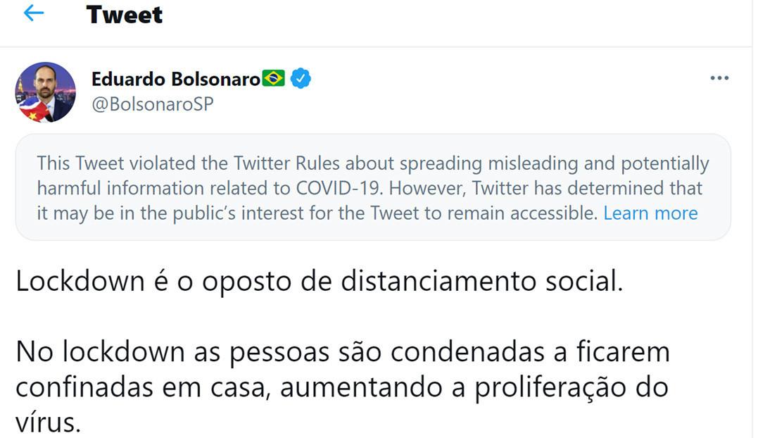 """Twitter tilda de """"información engañosa"""" un tuit del hijo de Bolsonaro sobre la pandemia"""