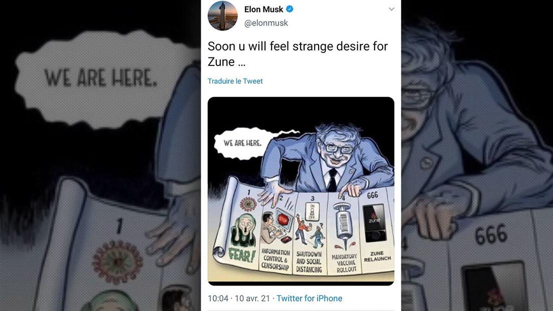 Elon Musk publica y luego borra una caricatura en la que Bill Gates controla las mentes con la vacuna
