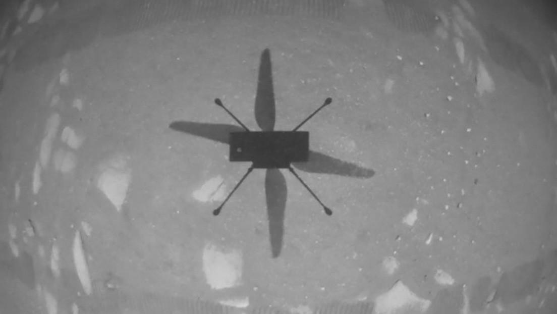 Primera imagen tomada por el helicóptero Ingenuity de la NASA durante su histórico vuelo inaugural en Marte