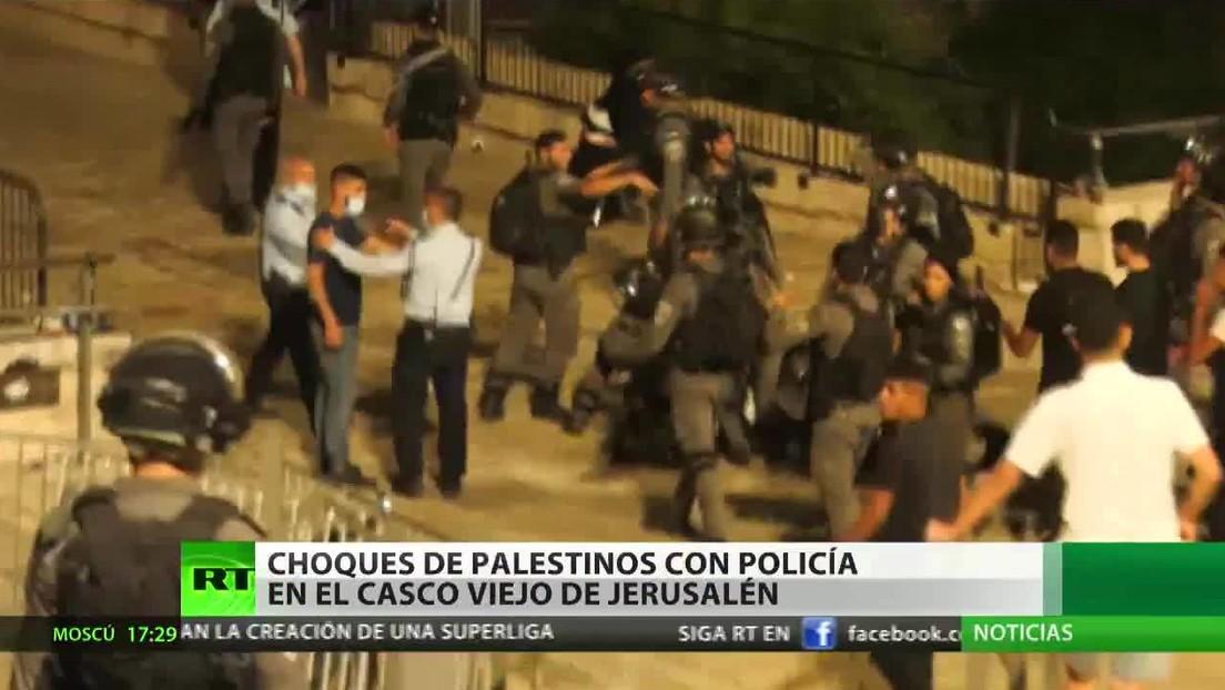Enfrentamientos de palestinos con la Policía de Israel en el casco viejo de Jerusalén