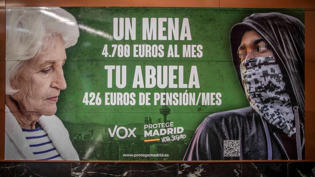 Mensajes de odio en espacios públicos de Madrid: la ultraderecha española usa un bulo en su propaganda electoral para atacar a los menores migrantes