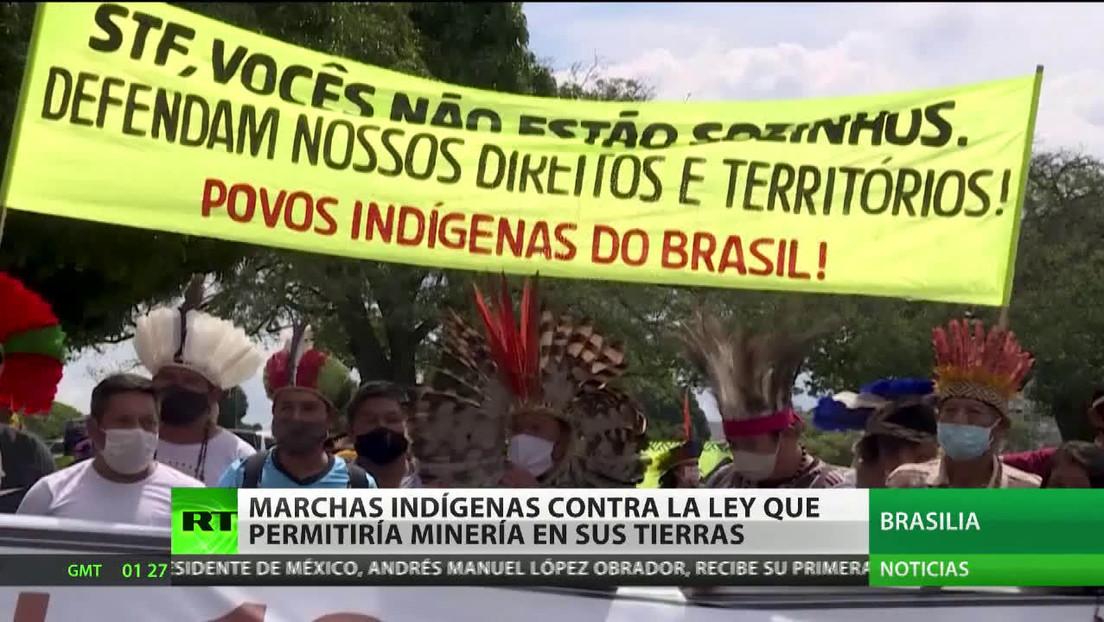 Marchas indígenas en Brasilia contra la ley que permitiría la minería en sus tierras