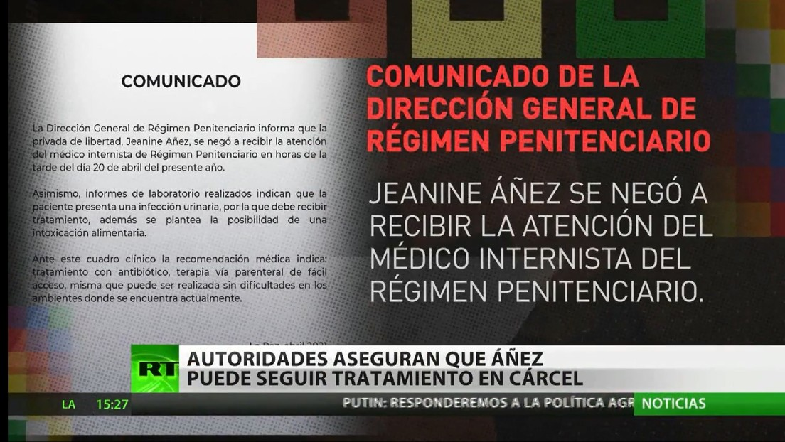 Autoridades penitenciarias de Bolivia aseguran que Jeanine Áñez puede seguir su tratamiento médico en la cárcel