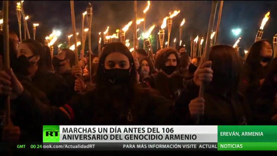 Miles de personas marchan por las ciudades de Armenia y otros países para conmemorar el 106.º aniversario del genocidio contra el pueblo armenio