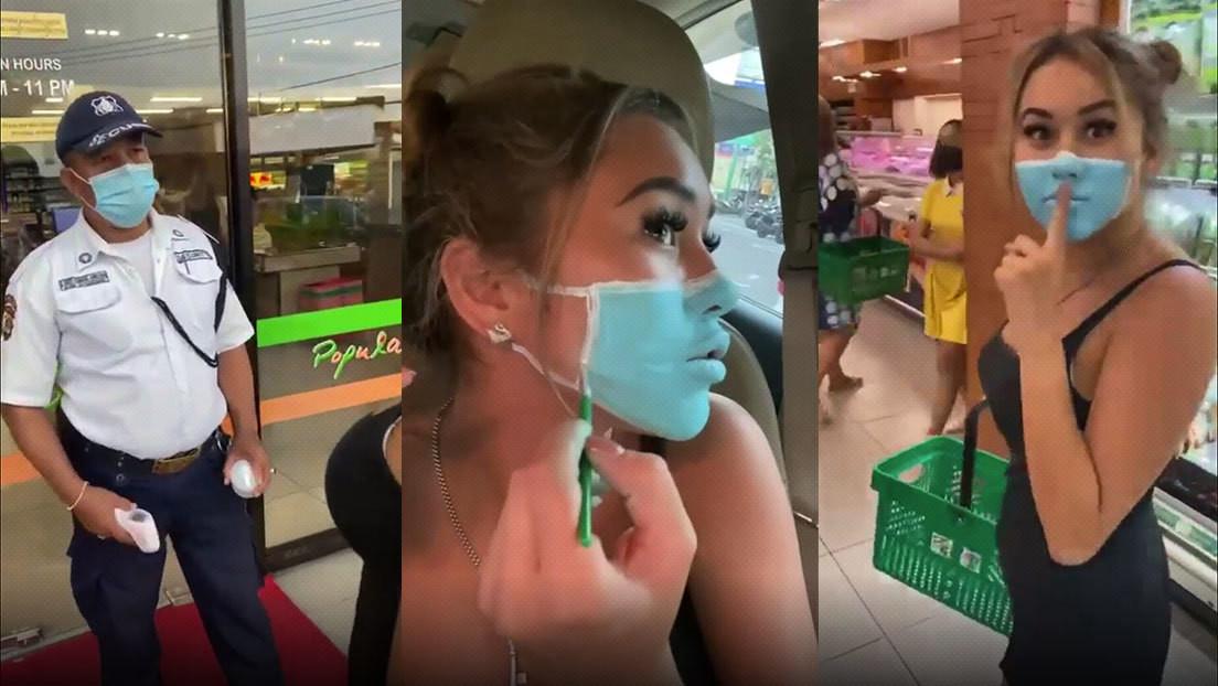 Dos 'influencers' se filman visitando un supermercado en Bali con una mascarilla pintada (y ahora pueden ser deportados)