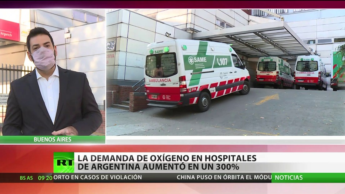 La demanda de oxígeno en los hospitales de Argentina aumenta en un 300 %