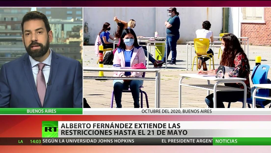 Presidente de Argentina extiende las restricciones por covid-19 hasta el 21 de mayo