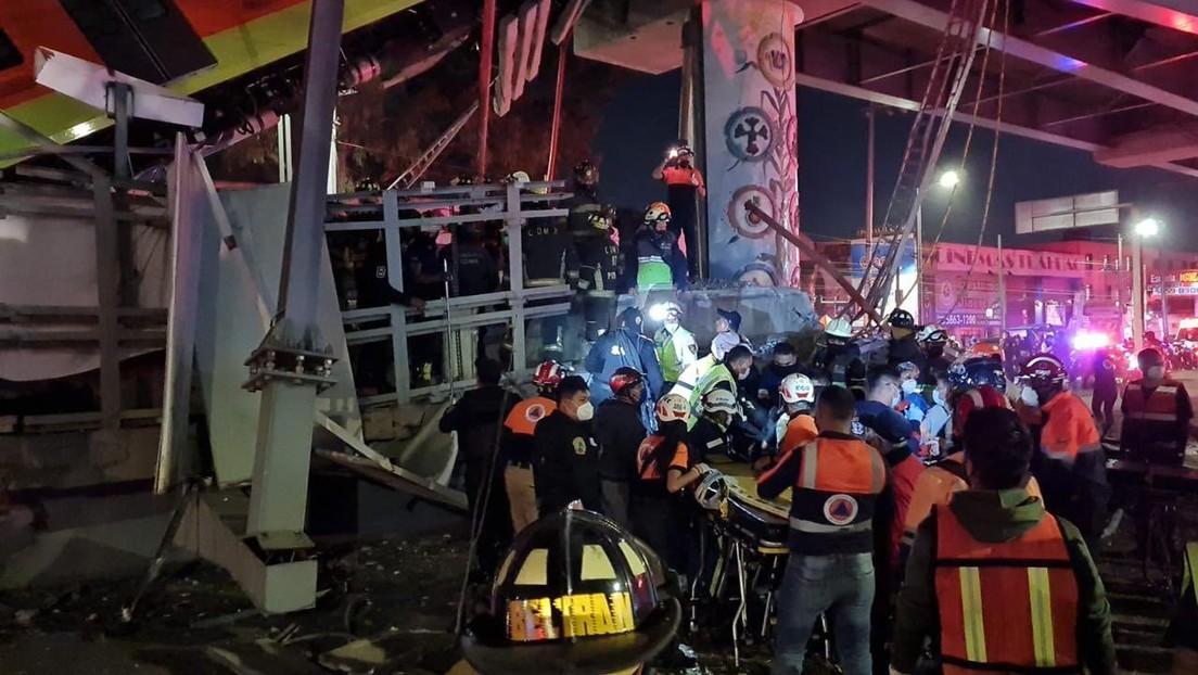 VIDEO: Momento exacto del desplome de un puente de metro con un tren en  marcha en Ciudad de México - RT
