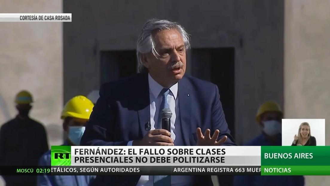 Alberto Fernández llama a no politizar el fallo de la Corte Suprema sobre las clases presenciales en Buenos Aires