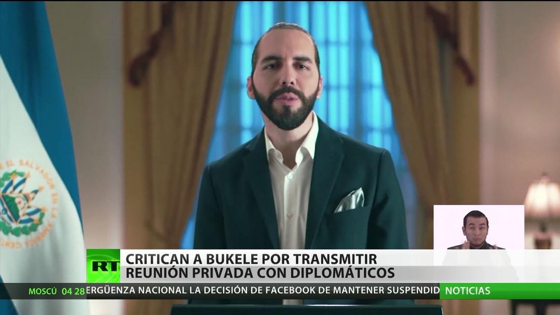 Critican a Bukele por transmitir una reunión privada con diplomáticos
