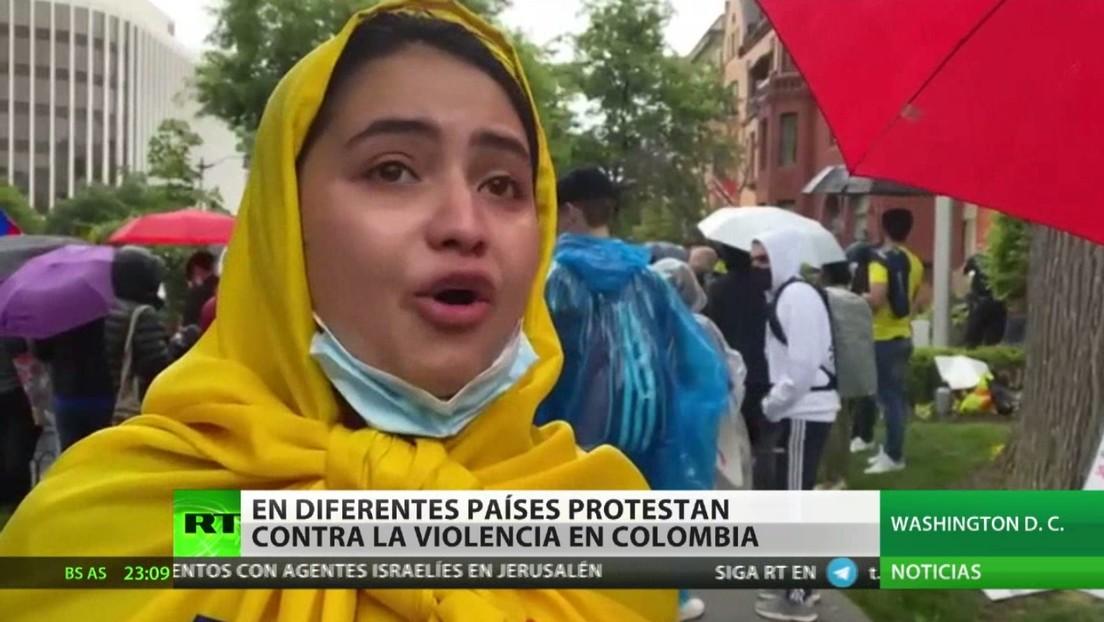 Protestas en diferentes países contra la violencia en Colombia