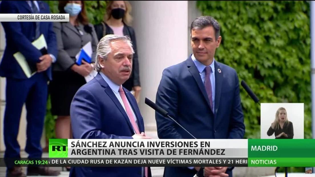 Pedro Sánchez anuncia un incremento de inversiones en Argentina tras la visita de Alberto Fernández a España