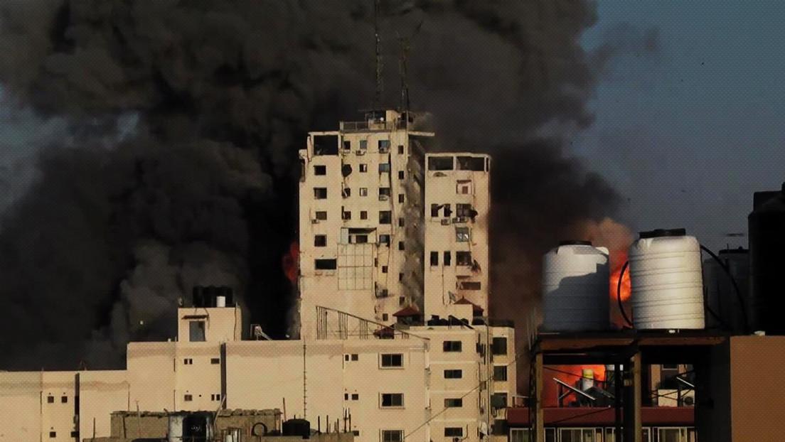 VIDEO: Un edificio de oficinas en Gaza colapsa tras ser alcanzado por un misil israelí